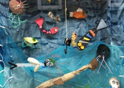 Archie Browns window working with Alice King and St Madderns school